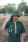Thai girl scout green uniform — Stock Photo