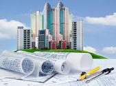 İnşaat Mühendisi olarak çalışan tablo karşı binanın planı — Stok fotoğraf