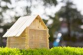 Dom modelu zrobić z drewna laski na sztuczne boisko z — Zdjęcie stockowe