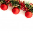 The curve of Christmas garland on the white background - Stock Photo