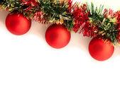 кривая рождественские гирлянды на белом фоне — Стоковое фото