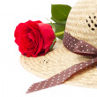 Stock Photo: Lady's still life with rose and elegant hat