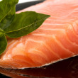 The plate with appetizing salmon and the sprig of basil — Stock Photo
