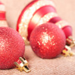 Brightly red Christmas decorations — Stock Photo