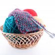 The set for knitting and the fabric — Stock Photo