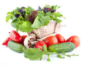 The still life with fresh healthy salad ingredients — Stock Photo