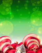 Christmas and New Year red and green background — Stock fotografie