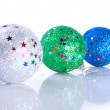 Three glistering Christams ball toys — Stock Photo #37452075