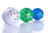 Three glistering Christams ball toys — Stock Photo