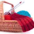 The fragment of the wicked basket with knitting — Stock Photo #46177435