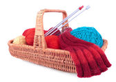 The yarn and knitting in the wicked basket — Stockfoto