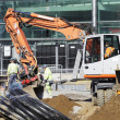 Construction works and heavy machinery — Stock Photo