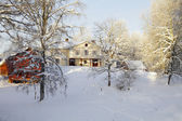 Manor house, snow and winter landscape — Stock Photo
