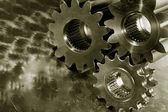 Giant gear wheels in titanium — Stock Photo
