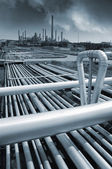 Pipeline construction and oil refinery — Stock Photo
