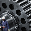 Gears machinery and industry workers — Stock Photo #12344124