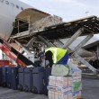 Stock Photo: Airplane being loaded with luggage and bags