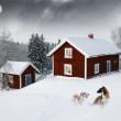 雪林下满月的红房子 — 图库照片