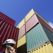 Cargo containers, shipping and port worker — Stock Photo
