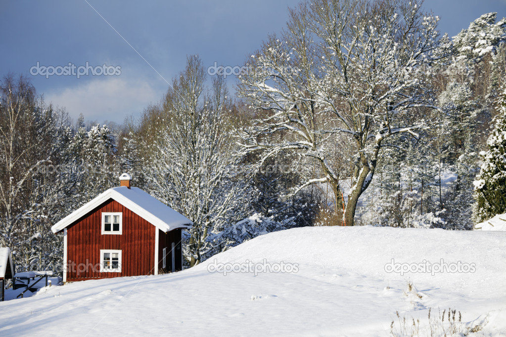 Red cottages surrounded by snow and ice, winter scenery in sweden  Stok fotoraf #16497189