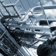 Stock Photo: Oil worker and refinery pipelines