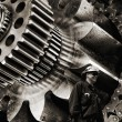Steel workers and gears machinery - Stock Photo