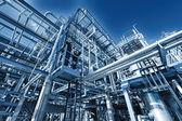 Refinaria de petróleo e gás, efeito iluminado — Foto Stock