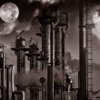 Stock Photo: Oil and gas refinery, late at night view