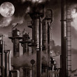 Oil and gas refinery, late at night view - Stock Photo