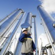 Stock Photo: Pipelines and gas works