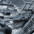 Oil-worker inside oil and gas refinery — Stock Photo