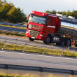 Stock Photo: Fuel truck driving on freeway