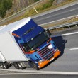 Trucking on a scenic freeway, panoramic view — Stock Photo