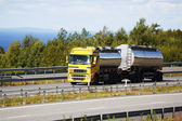 Fuel truck on the move — Stock Photo