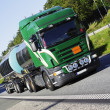 Fuel and oil truck on the move — Stock Photo