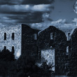 Spooky full-moon and old castle ruin — Stock Photo