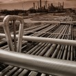Stock Photo: Pipelines leading to oil industry