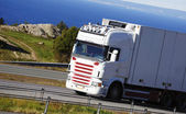 Large truck driving a scenic route — Photo