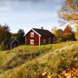 Old red cottage surrounded by autumn colors and leaves — Lizenzfreies Foto