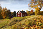 Old red cottage surrounded by autumn colors and leaves — Stock Photo