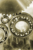 Ball-bearings, gears and cogs — Stock Photo