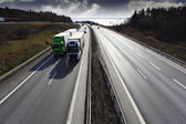 Truck driving on a dual lane freeway — Stock Photo