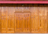 Wooden window on a wooden wall. — Stock Photo