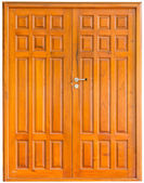 Wooden door on a white background — Stock Photo