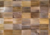 Vintage pattern material of cedar wooden decorative background on wall — Stock Photo