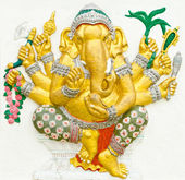God of success 9 of 32 posture. Indian or Hindu God Ganesha avat — Stock Photo