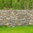 Fence real stone wall surface with cement on green grass field — Stock Photo