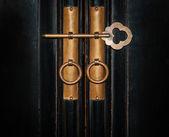 Closeup vintage copper key — Stock Photo