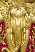 Elephant carved gold paint — Foto Stock