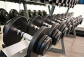 Dumbbell in fitness room — Stock Photo